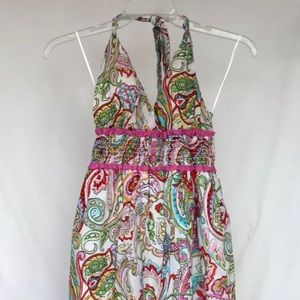 Guess 1 Pink Floral Babydoll Halter Top Dress